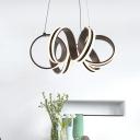 Brown Metal Modern LED Chandelier Indoor Decorative Lights Curved LED Chandeliers for Bedroom Living Room Cafe (Warm White)