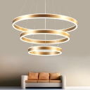 Height Adjustable Modern Brass Chandelier 1 Light/2 Light/3 Light Brushed Aluminum Circular Ring Chandelier LED Ambinet Warm White Neutral Light for Foyer Entryway Staircase