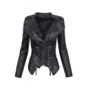 Layered Lapel Collar Zip Placket Asymmetric Hem Long Sleeve Slim Leather Jacket