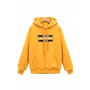 Letter Trim Patch Drawstring Hood Long Sleeve Casual Hoodie