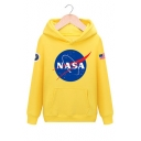 NASA Letter Planet Print Long Sleeve Loose Casual Hoodie