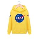 NASA Letter Planet Print Long Sleeve Loose Casual Hoodie