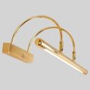18.50 Inch Long 12W LED Cold White Light Adjustable Arc Arm Picture Light 1 Light Gold Led Linear Vanity Light for Bathroom Mirror Living Room Gallery