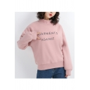 GARMENTS Letter Mock Neck Long Sleeve Pullover Sweatshirt