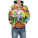 3D DRUGS Letter Cartoon Pattern Long Sleeve Hoodie
