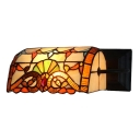 Victorian Design 1-light Banker Design Wall Sconce with Stained Glass