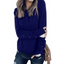 Round Neck Plain Long Sleeve Buttoned Vented Cuffs Sweater