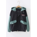 Letter Embroidered Color Block Long Sleeve Zip Placket Hooded Jacket