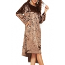 Velvet Round Neck Long Sleeve Asymmetric Hem Midi T-Shirt Dress