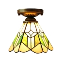 Green Mission Pattern 1 Light Hexagon Semi Flush Mount with Bronze Finish Canopy