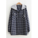 Contrast Hood Patch Plaid Long Sleeve Button Front Hooded Shirt Jacket