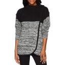 Color Block Patchwork Long Sleeve Mock Neck Asymmetric Hem Sweater