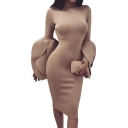 Plain Round Neck Asymmetrical Tiered Long Sleeve Midi Pencil Dress