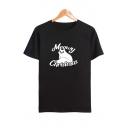 Cute Cartoon Cat Meowy Christmas Letter Print Round Neck Short Sleeve T-Shirt