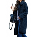 Notched Lapel Collar Long Sleeve Plain Faux Fur Coat