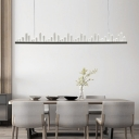 Home Decorative Lighting Black Metal LED Linear Chandelier 47.24