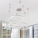 LED Modern / Contemporary Metal 4 Light LED Ring Pendant Light 125W Novelty LED Warm White Neutral Light for Home Decoration