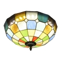 Tiffany Stained Glass Checkered Bowl Shade Flush Mount Light 15.75