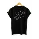 Star Rocket Planet Print Round Neck Short Sleeve T-Shirt