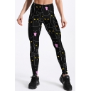 Cat All Over Print Elastic Waist Skinny Leggings