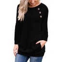 Button Detail Raglan Long Sleeve Round Neck Leisure T-Shirt