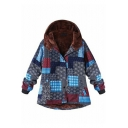 Folk Style Floral Print Long Sleeve Button Front Hooded Coat