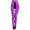 High Waist Velvet Skinny Step Foot Leggings