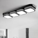 Modern Indoor Lighting 1/2/3/4 Light Square LED Ceiling Flush Light in Black 12W-36W High Bright Warm White Light for Living Room Bedroom