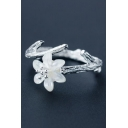 Gardenia Shape Sliver Open Front Branch Ring
