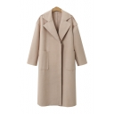 Plain Notched Lapel Collar Long Sleeve Panelled Tunic Coat