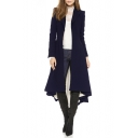 Notched Lapel Collar Long Sleeve Long Sleeve Asymmetric Hem Tunic Coat