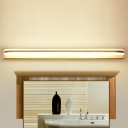 Stainless Steel Waterproof Modern Bathroom Lighting 9W-20W Acrylic Linear Vanity Light in Wood Base Ambient Warm White Light