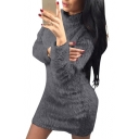 High Neck Long Sleeve Plain Faux Fur Mini Bodycon Dress