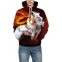 Wolf Fire Pattern Long Sleeve Unisex Hoodie