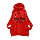 MEW Letter Cat Pattern Long Sleeve Casual Hoodie