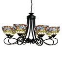 Baroque Style Eight-Light Wrought Iron Chandelier with Tiffany Stained Glass Bowl Shades