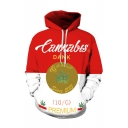 Red and White Color Block Letter Printed Leisure Casual Hoodie
