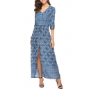 V Neck Bohemia Floral Print 3/4 Length Sleeve Split Front Maxi Beach Dress