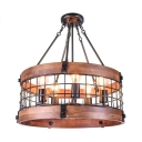 Vintage Style Metal Iron Frame 5 Light Wood Chandelier Light for Indoor with Adjustable Chain