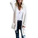Plain Faux Fur Long Sleeve Tunic Hooded Cardigan