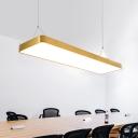 Brushed Aluminum Post Modern Linear LED Fxiture 24/45/54W 3200/4000/6500K Brass Rectangular Pendant Light 23.62