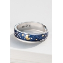 Cool Moon Galaxy Pattern Open Front Ring for Woman