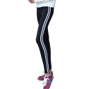 Contrast Striped Side Elastic Waist Slim Leggings