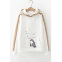 Chinese Letter Print Color Block Raglan Sleeve Leisure Hoodie
