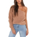 One Shoulder Plain Long Sleeve Pullover Knit Sweater