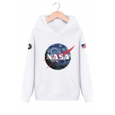 NASA Letter Graphic Print Long Sleeve Hoodie with Kangaroo Pocket