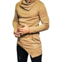 Plain Heaps Collar Long Sleeve Asymmetric Hem Slim Menswear T-Shirt