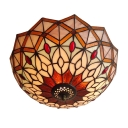 Tiffany Stained Glass Flush Mount Light Featuring Peacock Tail Pattern 12 Inch Wide