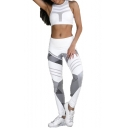 Color Block Geometric Elastic Waist Yoga Leggings