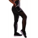 Sheer Mesh Patch Side Elastic Waist Skinny Yoga Leggings